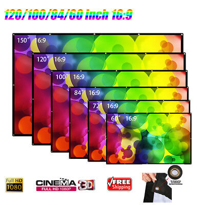 60/84/100/120'' Foldable HD 1080P 3D Projector Movie Screen 16:9 Home Cinema New