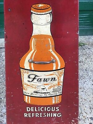 FAWN BEVERAGES, Display Rack,  Lithograph SODA Advertising SIGN w BOTTLE 2 Side