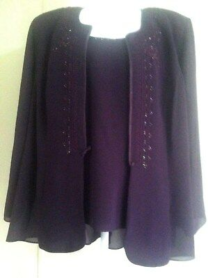 R & M Richards Womens 3 Pc Plus 20W Purple Pants Suit with Embroidery and Beads