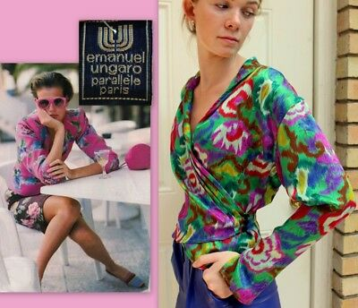 ICONIC, HARD 2 FIND Vtg 80s UNGARO PARALLELE PARIS Abstract Silk WRAP BLOUSE Top