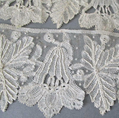 "Antique Handmade Lavish French LACE Brussels Bobbin Lace 2.5"" W X 39"" * Unused"