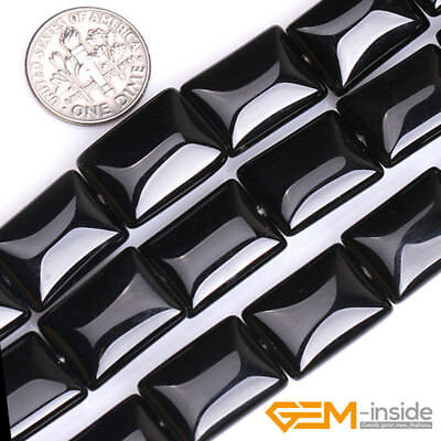 """Natural Black Onyx Agate Gemstone Rectangle Beads For Jewelry Making Strand 15"""""""