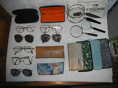 Mixed Lot18 Vtg Bifocal EyeGlasses Magnifiers Cases Marchon Italy Luxotica Monet