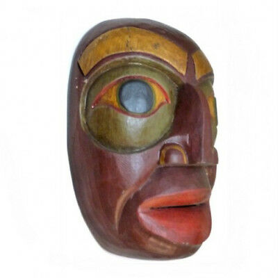 """Hand Carved Wood Totem Mask Native Bali Craftsmen Wall Decoration 10"""" Tall New"""