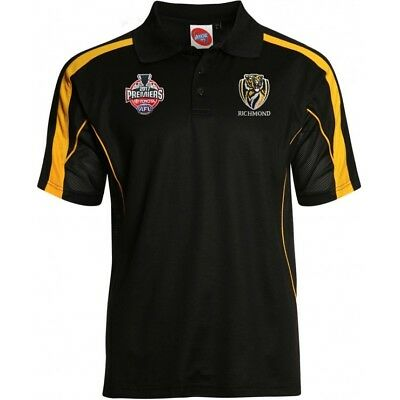 Richmond Tigers AFL 2017 Premiers Black Polo Shirt Sizes S-3XL! In Stock! P1