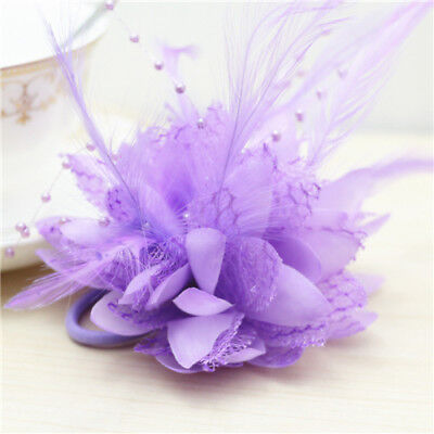 Purple Flower Feather Bead Corsage Hair Clips Fascinator Hairband Pin brooch