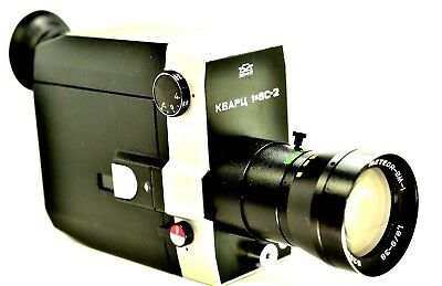 【WORKING】RARE RUSSIAN SUPER 8 MOVE CAMERA WINDER w/POUCH & LENS HOOD CLEAN GLASS