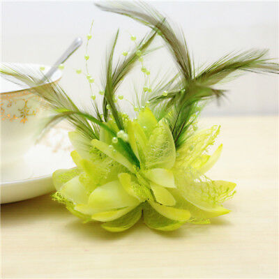 Green Flower Feather Bead Corsage Hair Clips Fascinator Hairband Pin brooch