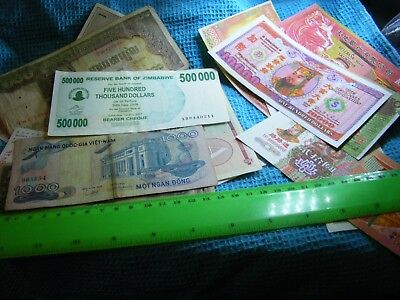 Lot of 22  World Notes(15 World Banknotes(1940s on plus 7 Chinese Temple Money).