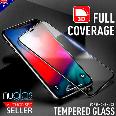 Apple iPhone XS X GENUINE NUGLAS 3D FULL Cover Tempered Glass Screen Protector