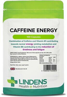 Caffeine Energy 200mg and Vitamin B1 (100 capsules) Energy [Lindens 2094]