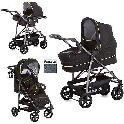 Hauck Caviar Neon Rapid 4S Plus Trio Set Travel System Pushchair With Carrycot