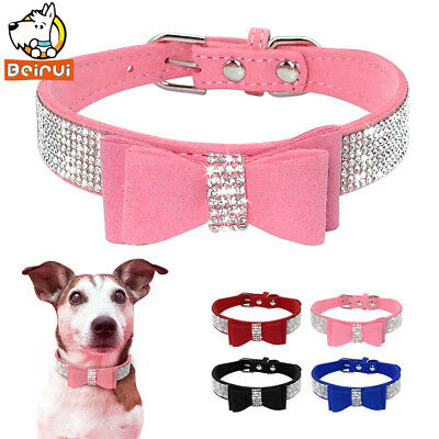 Suede Rhinestone Dog Collar Sparkly Crystal Bow Tie Dogs Cat Collars Bowknot ...