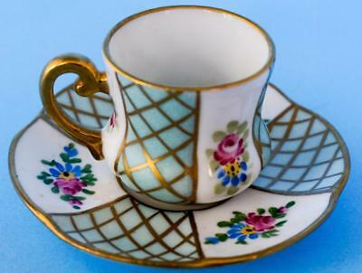 Vintage Limoges Miniature French Porcelain Hand Painted Cup and Saucer