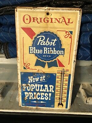 Old Vintage Original Pabst Blue Ribbon Beer Advertising Thermometer Sign Brewery