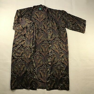 Isaac Zelcer Unisex Sz 0/S Silk Night Robe Paisley Long Slv Side Pockets NO Belt