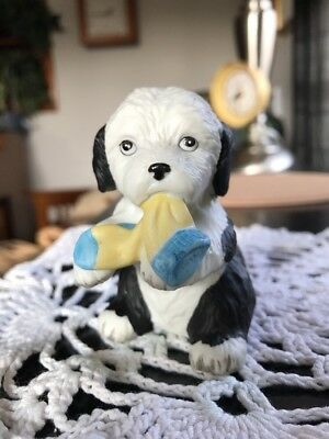 """Old English Sheepdog Puppy Playing with Sock Vintage Bisque Figurine 3"""" high"""