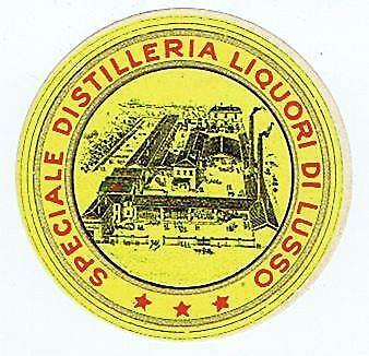 Speciale Distilleria Liquori Di Lusso, 3 star B&W factory antique label #105