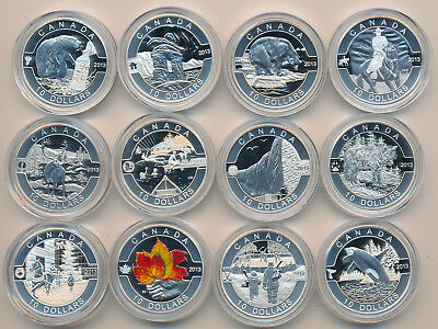 O Canada Fine Silver 10 Dollars 2013 Complete 12 Coin Set; Issue price $430
