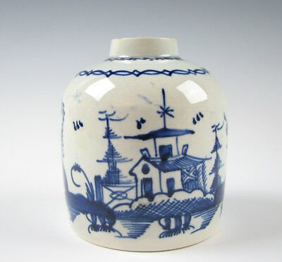 Antique Pearlware glaze English Pottery Tea Caddy Blue Chinoiserie Leeds