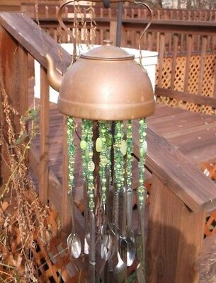 Hand Made Unique Copper Tea Kettle Wind Chimes Green