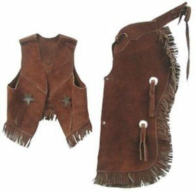 Childrens Western Vest & Chaps Set-black or Brown Suede Leather S M or L Larg...