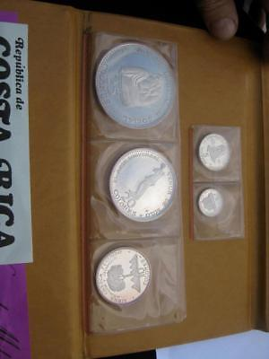 Costa Rica 5 PC PROOF set 1970 4.3 oz silver large Venus