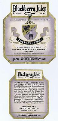 Blackberry Julep, vermouth Jack Poust & Co NY Italian vintage labels (2) #118