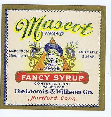 Mascot, Fancy Syrup, Loomis & Willson Co Hartford CT original antique label #112