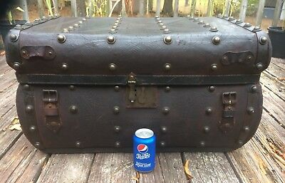 Vintage 1850's AMERICAN PRIMITIVE JENNY LIND Leather TRUNK Flat Top TABLE