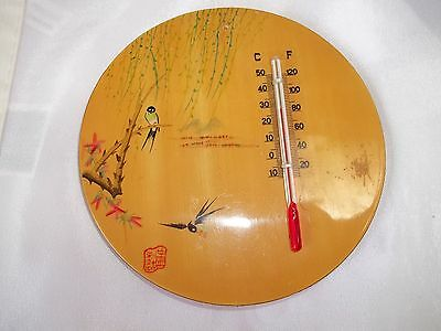 Vintage Asian Handpainted Birds With Thermometer