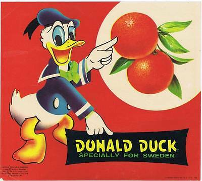 Donald Duck  original 1958 Spanish orange  crate label for Swedish market
