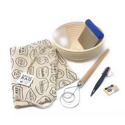 7-Piece Artisan Bread Baking Set with Banneton Lame Bread Bag Dough Scapers