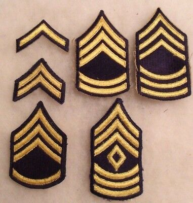 Korean War Era Short Lived Complete Set Of Blue Small Chevrons For Army Lot