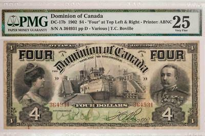 """1902 Dominion Of Canada $4 Series Printer ABNC """"Four"""" at Top PMG VF25 Item#T7214"""