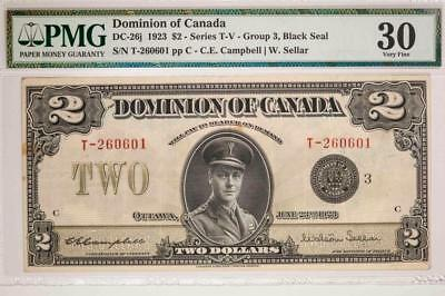 1923 Dominion Of Canada DC-26j $2 Series T-V Group PMG VF30 Item#T7213