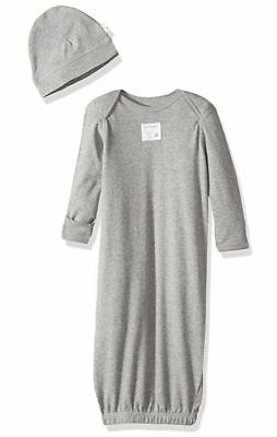 BURT'S BEES BABY 100% Organic Cotton Heather Gray Infant Gown + Cap 0-6 mos NEW