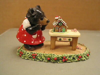Wee Forest Folk BB-06-06d Little Sis w/Gingerbread House-Beary Cute Bear Special