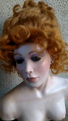 """Doll Wig, Stobe 10-11,"""" For A Doll up-do. Great Color carrot red, Auburn mohair"""