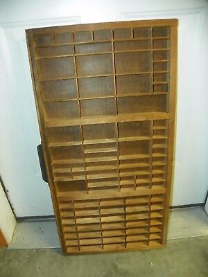 "Vintage Hamilton Printers Type Cabinet Drawer Shadow Box Tray Wood 32x16x1.5""  B"