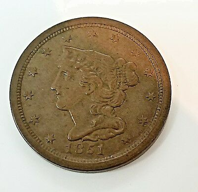 1851 HALF CENT  XF great original tone and skin