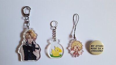 Final Fantasy XV FFXV Prompto Chocobo Acrylic Charm Button Pin Keychain Ita Bag