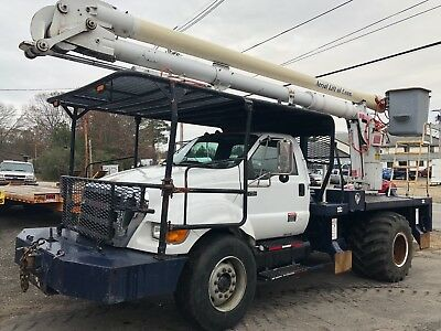 2008 Ford F750 Rear Mount 57' Bucket Boom Truck UNDER CDL CAT C7 SUPER LOW MILES