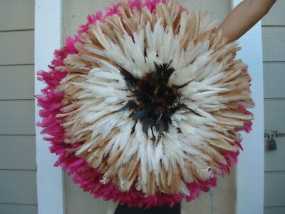 """20"""" Tan & White  / African Feather Headdress / Juju Hat / 1st. Quality"""