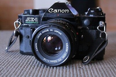 Canon Black AE-1 program 35mm Film Camera with 50mm f1.8 FD lens