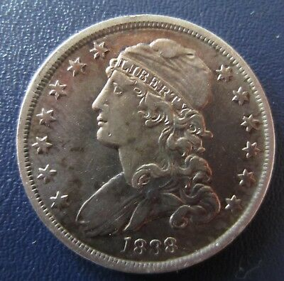 1838 Capped Bust Quarter, Very Strong Detail, Cleaned