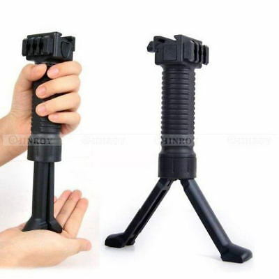 Tactical Vertical Front Grip Foregrip Rail with Retractable Bipod Stand Monopods