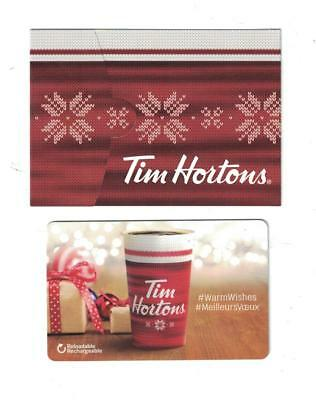 "Tim Hortons 2017 CHRISTMAS "" WarmWishes "" Gift Card & Gift Card Sleeve FD59745"