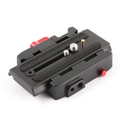 QR Quick Release Plate Clamp F Manfrotto 501 500AH 701HDV 577 Tripod Camera 1/4""