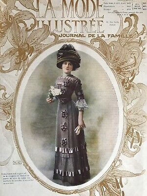 ORIGINAL MODE ILLUSTREE Sewing patterns -tracings- March 27,1910 MOURNING DRESS